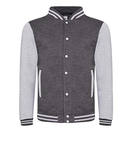 Awdis Hoods Varsity Letterman Jacket (Medium, Charcoal/Heather Grey)