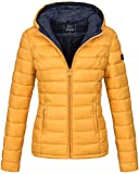 Marikoo Damen Jacke Steppjacke Herbst Winter Übergangsjacke gesteppt B651 [B651-Luc-Gelb-Gr.M]