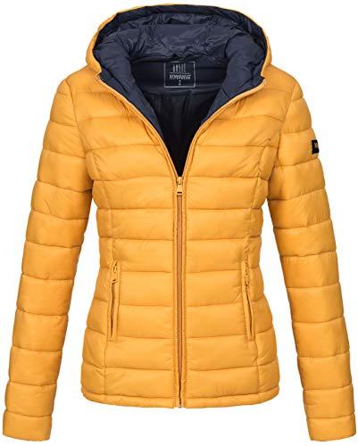 Marikoo Damen Jacke Steppjacke Herbst Winter Übergangsjacke gesteppt B651 [B651-Luc-Gelb-Gr.L]