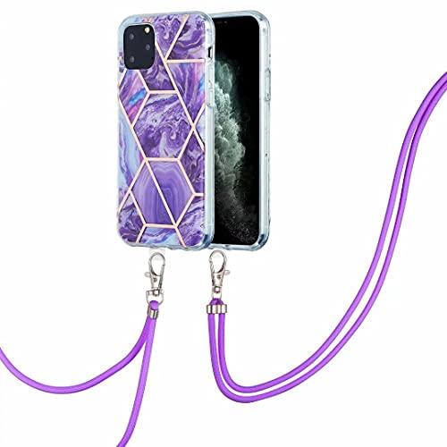 Funda para Xiaomi Mi 10T Pro/Mi 10T, a prueba de golpes, piedra de mármol transparente suave TPU parachoques con cordón de cordón Funda protectora desmontable para teléfono Xiaomi Mi 10T Pro/Mi 10T