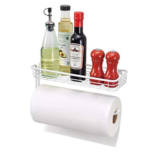 mDesign porte essuie-tout mural – dévidoir pour la cuisine ou la salle de bains – montage mural, porte sopalin moderne – blanc