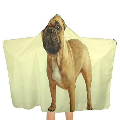 IPOXK Kids Bath Towel, French Bulldog Hooded Bath Towel, Beach Cape Towel, Hooded Beach Towel, Quick-Drying