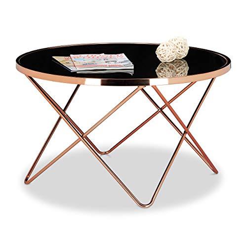 Relaxdays 10020416 Table basse ronde COPPER en cuivre et verre noir table appoint ronde canapé HxlxP: 49 x 85 x 85 cm design moderne plateau en verre canapé salon original, couleur cuivré