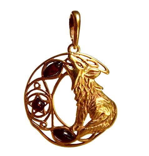 MJ Baltica Colgante artesanal de plata 925 bañada en oro de 14k y ámbar natural Lobo y Luna BZW029