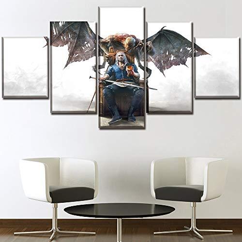 GHDE& Leinwand Poster Wohnkultur 5 Stücke Spiel The Witcher 3 Wild Hunt Blood and Wine Gemälde Wandkunst HD-Druck Bild,B,30 * 50 * 2+30 * 70 * 2+30 * 80 * 1