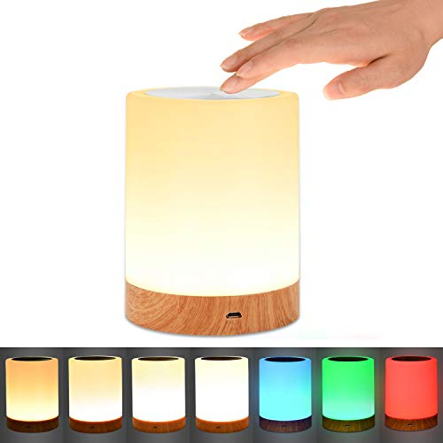 Table lamp, Comkes Touch Sensor Bedside lamp with Dimmable Warm White Light & Color Changing RGB for Bedrooms Living Room