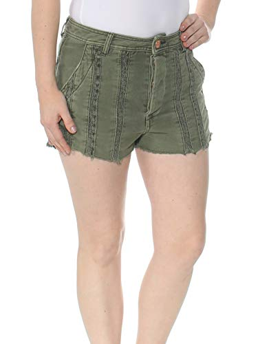 Free People Womens Great Expectations Button Fly Lace Trim Denim Shorts Green 0