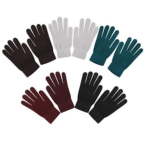 QKURT 5pcs Winter Stretch Handschuhe Unisex Stricken Vollfingerhandschuhe Winterhandschuhe für den Täglichen Gebrauch