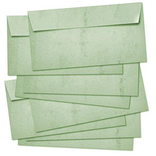 Partycards 50 Briefumschläge doppelseitig bedruckt, geeignet für alle Drucker (Grün, Format DIN Lang 22 cm x 11 cm Grammatur 100 g