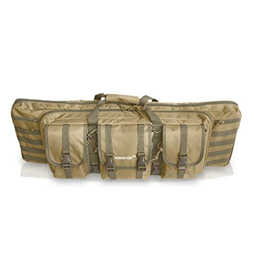 YONGCUN Gun Bag Gun Case Rifle Bag Double Tactical Bag Carbine Cases Long Gun Case Bag Tactical Gun Bag 42inch Black 600D Waterproof PVC