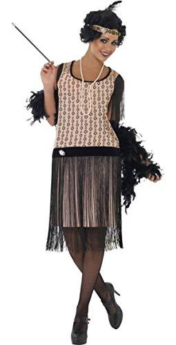 Fancy Me Femme Sexy Années 1920 années 1930 Coco Charleston Inclus Porte Cigarette & Collier! Gatsby décennies fête Costume déguisement - Beige, Beige, 16-18