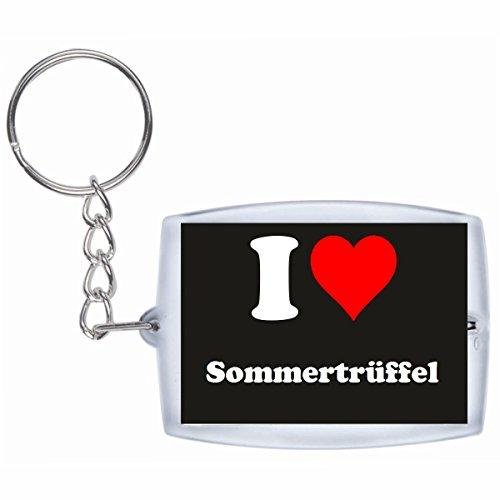 Druckerlebnis24 Schlüsselanhänger I Love Sommertrüffel in Schwarz - Exclusiver Geschenktipp zu Weihnachten Jahrestag Geburtstag Lieblingsmensch