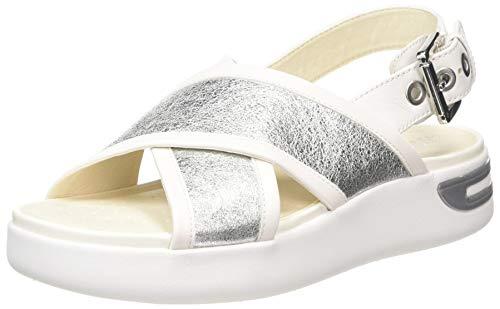 Geox D OTTAYA, Sandali con Cinturino alla Caviglia Donna, Argento (Silver/White C0434), 39 EU