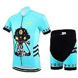 Baotung Maillot de ciclismo para niños, camiseta de manga corta y pantalón de ciclismo con almohadilla para el asiento, diseño de dibujos animados, talla 146 (etiqueta XXL)