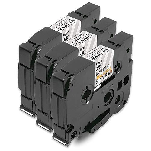 3x kompatible SchriftbandKassette als Ersatz für Brother P-Touch für Tape TZE-121 TZE121 TZ-121 TZ121 TZ 121 9mm Schwarz auf Transparent für Brother P-Touch 1000 1010 1090 1830VP 2030VP 2100VP 2430PC 2470 2730VP 7100VP