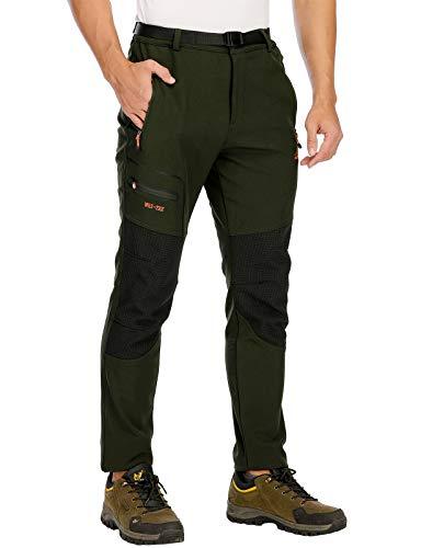 DAFENP Pantaloni Trekking Uomo Softshell Pantaloni Montagna Escursionismo Impermeabili Caldo Invernali All'aperto KZ1662M-ArmyGreen1-S
