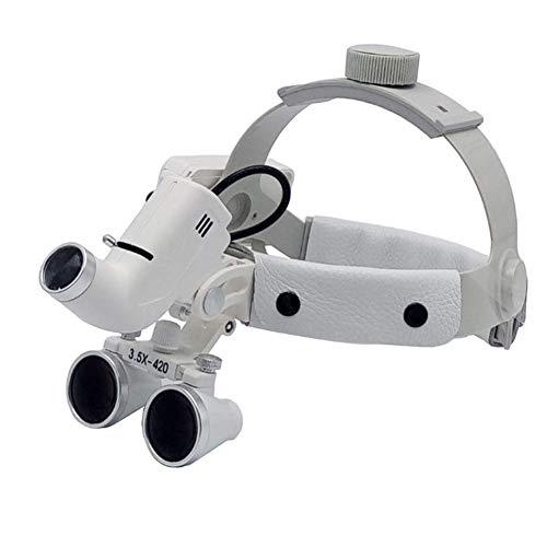 DX.JZ Lente d'Ingrandimento Medica Dentale Fascia per Capelli 3.5X Lente d'Ingrandimento Luce a LED 3.5X Lente d'Ingrandimento Occhialini binoculari