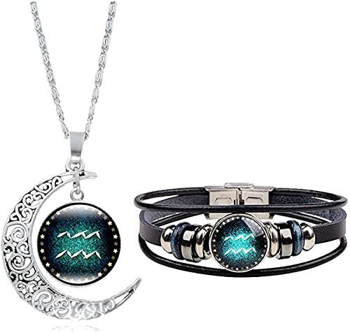 BRBAM 12 Constelación collar pulsera tejido multicapa pulsera de cuero y colgante de luna conjunto de joyas para mujeres hombres y niñas,