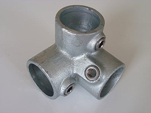 B&T Metall Rohrverbinder Dreiweg Eckstück T128 Ø 26,9 mm (3/4') Temperguss thermisch vollbadverzinkt inkl. Stellschrauben