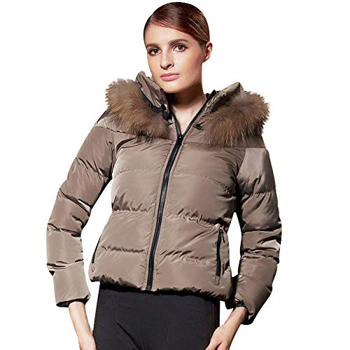 Verdikte donsjas met leren kraag korte jas van katoen voor dames met leren kraag