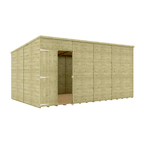 14 x 8 Pressure Treated Hobbyist Pent Shed Tongue & Groove Shiplap Cladding Construction Windowless Offset Door OSB Floor Wooden Garden Shed 4.26m x 2.43m
