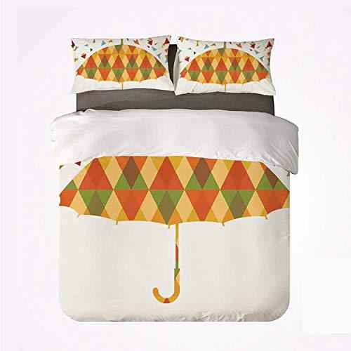 Miwaimao Bedding Bettwäsche-Set,Geometrische farbige Dreiecke wie Regentropfen Absract und Fashion Mosaic Umbrella Art Print,Mikrofaser Bettbezug und Kissenbezug - (200 x 200 cm)