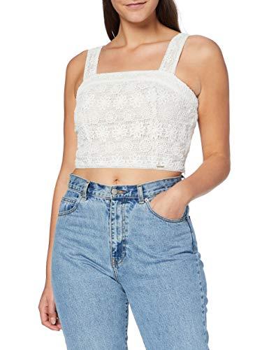 Superdry Damen Morgan LACE Crop TOP Hemd, Weiß (White 04C), M (Herstellergröße:12)