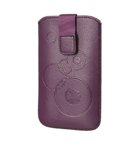 Handytasche Gemustert violett passend für Samsung Galaxy S6 Duos G920FD Handy Etui Schutz Hülle Cover Slim Case violett (lila) mit Klettverschluss