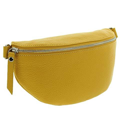 IO.IO.MIO echt Leder Bauchtasche Damen Hüfttasche Gürteltasche Crossbody Bag Frauen Ledertasche (gelb)