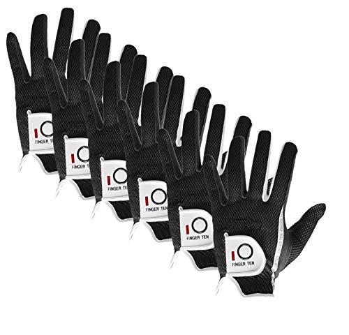 FINGER TEN Golfhandschuh Herren Links Rechts 6 Stück (Not Paar) Allwetter Mikrofaser Rain Grip Golf Handschuh Linke Rechte Hand Weicher Komfort Passform Größe S M ML L XL(Schwarz M/L Linken Hand)