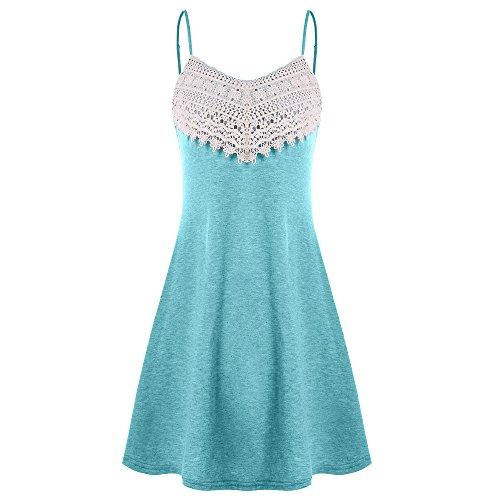 ESAILQ Mode Frauen Häkelspitze Backless Mini Slip Kleid Leibchen Ärmelloses Kleid (Small, Himmelblau)
