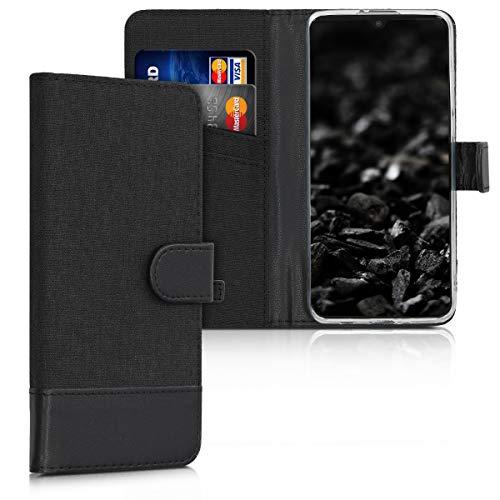 kwmobile Hülle kompatibel mit Huawei P30 Lite - Kunstleder Wallet Hülle mit Kartenfächern Stand in Anthrazit Schwarz