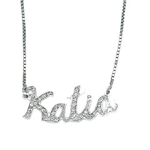 Collana nome Katia argento 925 con pietre bianche