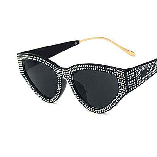 WQZYY&ASDCD Gafas de Sol Gafas De Sol Vintage para Mujer, Gafas De Sol De Lujo para Mujer, Gafas para Hombre, Anteojos Punk para Hombre, Lentes para Mujer, Gafas De Sol para Hombre-Negro