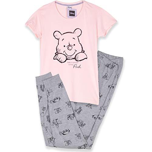 Disney Lizenzprodukt Nachtwäsche Damen-Nachthemd, Schlafanzug-Set, Baumwoll-Stoff, S, M, L, XL Gr. Large, Pfirsich/grau Winnie Puuh Pyjama Set
