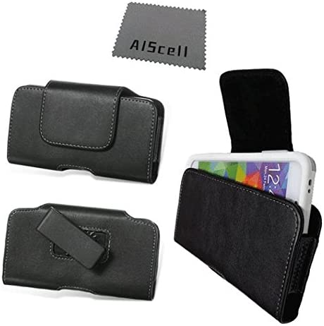Horizontal EX Large Leather Pouch Case 6.00 '' X 3.40 '' X 0.50 '' with Swivel Belt Clip Holster + AIS Cell Phone Cleaning Cloth for Xperia Z3, Z2 fit The Phone + Hybrid/Protective case on