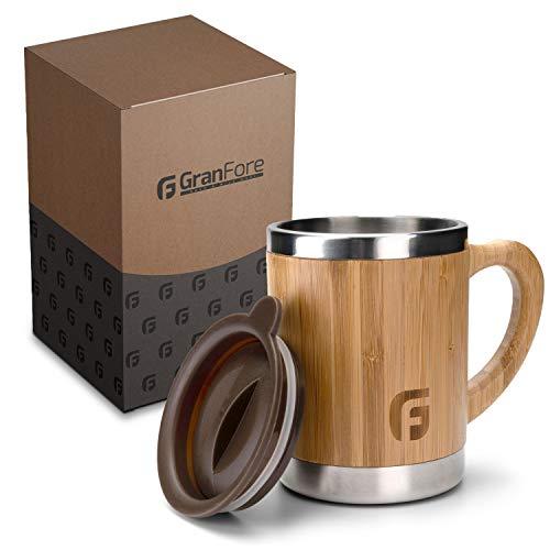 GranFore Kaffeebecher to go | 300ml Bambus Trinkbecher mit Deckel | Außergewöhnliches Design | Jeder Becher ist einzigartig