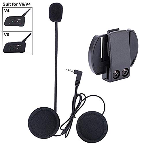 Micrófono Auriculares y Accesorio del Clip para V6/V4 Moto Casco Bluetooth intercomunicador Interphone Auriculares
