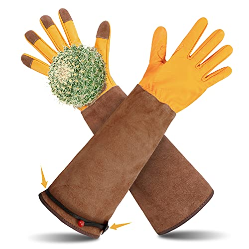 Photo of Long Gardening Gloves, Gauntlet Gloves for Pruning Cacti Rose and Thorny Bushes