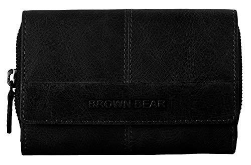 Brown Bear Echtleder Geldbörse Damen Leder Schwarz Vintage RFID Schutz Blocker groß viele Fächer Reißverschluss-Fach hochwertig Portemonnaie Frauen Geldbeutel Portmonaise Portmonee BB Lin Bk