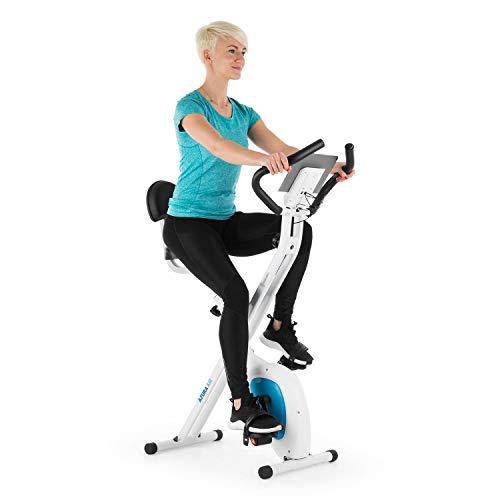 Capital Sports Azura Air - Bicicleta estática de cardio, Plegable, Computador de entrenamiento, Pulsómetro, Sillín ergonómico, 7 niveles altura, Pedales antideslizantes, Pantalla LCD, Blanco