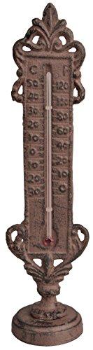 Esschert Design Thermometer stehend, braun, 5.9 x 5.2 x 22.4, TH74