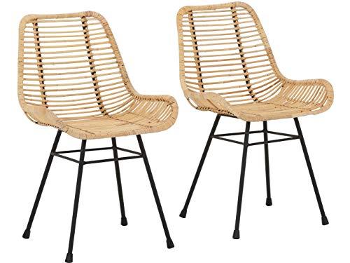 2er Design Stuhl Stühle Esszimmerstuhl Rattan Esszimmer Rattangeflecht Metallgestell (Natur)