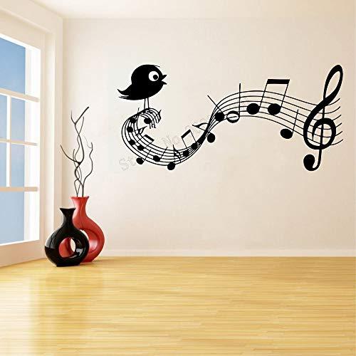 yaonuli Art muurstickers muziek boom muur decoratie vogel zang kamer decoratie verwijderbare poster muurschildering vinyl sticker