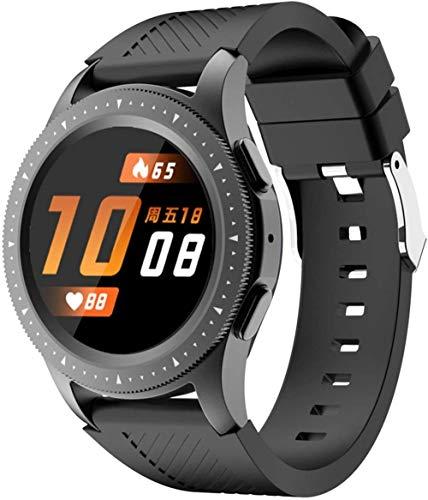 DHTOMC Full Circle Full Touch pantalla a color de 1.3 pulgadas pantalla de teléfono inteligente Bluetooth llamada reloj deportivo podómetro recordatorio, desgaste diario-negro
