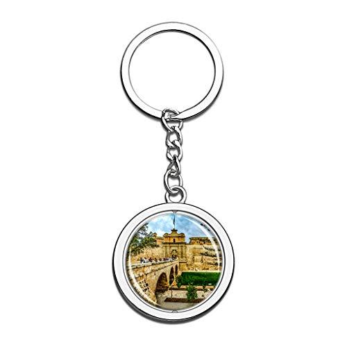 Hqiyaols Keychain Malta Mdina Gates Castle Llavero Cristal Girar Acero Inoxidable Llavero...