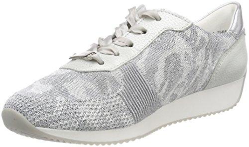 ara ara Damen LISSABON Sneaker, Silber (Camu-Silber, Bianco/Silber 39), 41.5 EU
