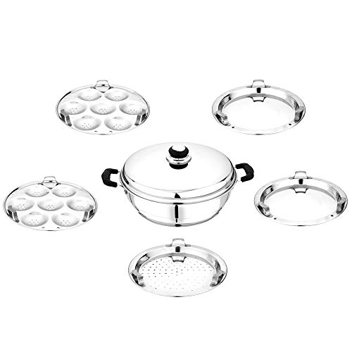 Pristine Induction Compatible Stainless Steel Multi Purpose Kadai (Silver)