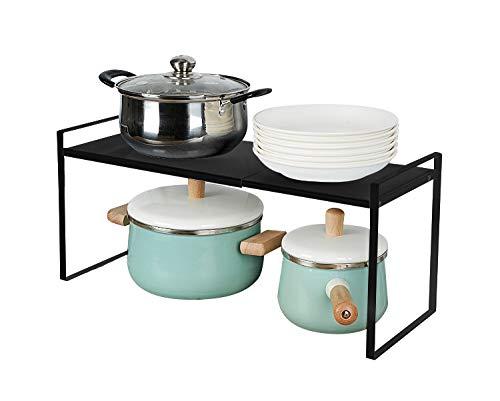 Taotigzu El estante de almacenamiento de metal extensible es para gabinetes de cocina, encimeras, cocina, alimentos y utensilios, podría ahorrar espacios, blanco… (negro, 60 * 21 * 23cm)