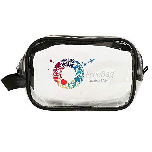 Freebag Trousse de Toilette Transparente pour Avion en PVC Transparent pour Voyage Cabine - kit de Voyage Cabine approuvée par Le TSA et Les compagnies Low-Costs